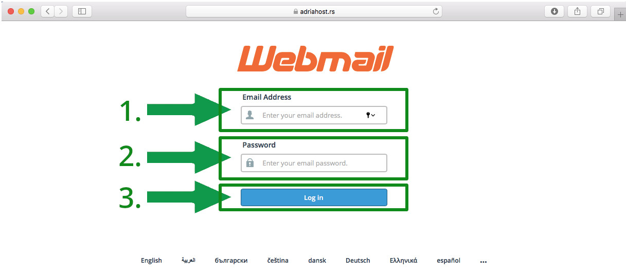 kako da se ulogujem na webmail